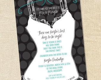 Sweet Wishes Polka Dot & Turquoise Lingerie Party Bachelorette Invitations - PRINTED - Digital File Also Available