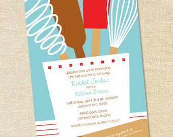 Sweet Wishes Bridal Shower Kitchen Party Invitations - PRINTED - Digital File Also Available