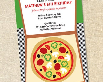 Sweet Wishes Takeout Pizza Party Invitations - PRINTED - Digital File Also Available