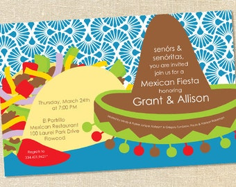 Sweet Wishes Bright Mexican Fiesta Taco Party Invitations - PRINTED - Digital File Also Available