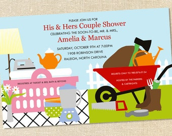 Sweet Wishes His & Hers Couples Shower Invitations - PRINTED - Digital File Also Available