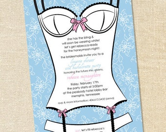 Sweet Wishes Pretty Bustier Bachelorette Party Invitations - PRINTED - Digital File Also Available
