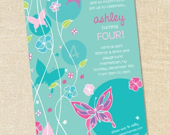 Sweet Wishes GIrl's Turquoise Butterflies Party Invitations - PRINTED - Digital File Also Available