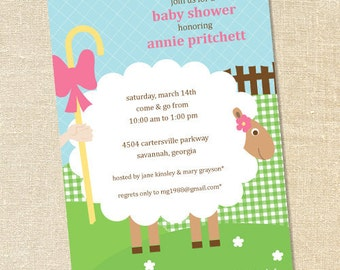 Sweet Wishes Mary Had a Little Lamb Baby Shower Party Invitations - PRINTED - Digital File Also Available