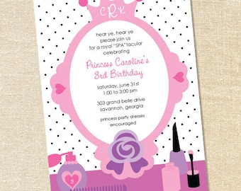 Sweet Wishes Pink Princess Spa Polish Party Invitations - PRINTED - Digital File Also Available