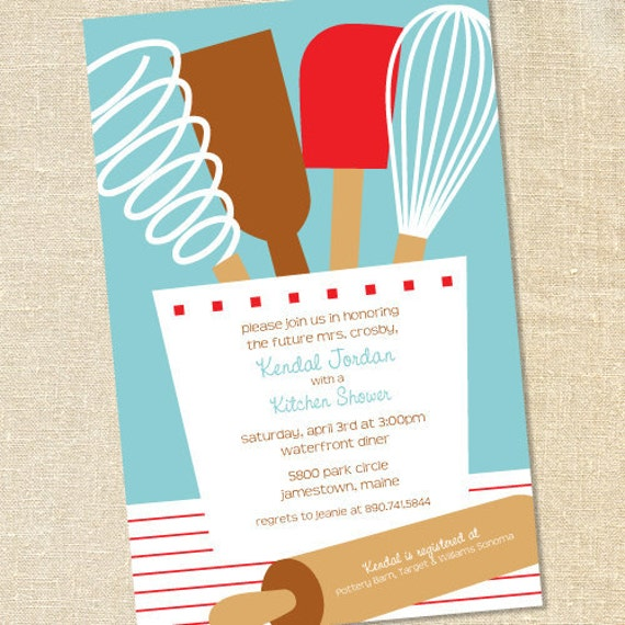 Kitchen Shower Invitations With Recipe Card is beautiful invitations template