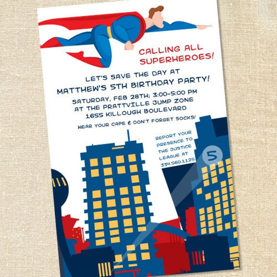 Sweet Wishes Flying Superhero Birthday Party Invitations - PRINTED - Digital File Also Available
