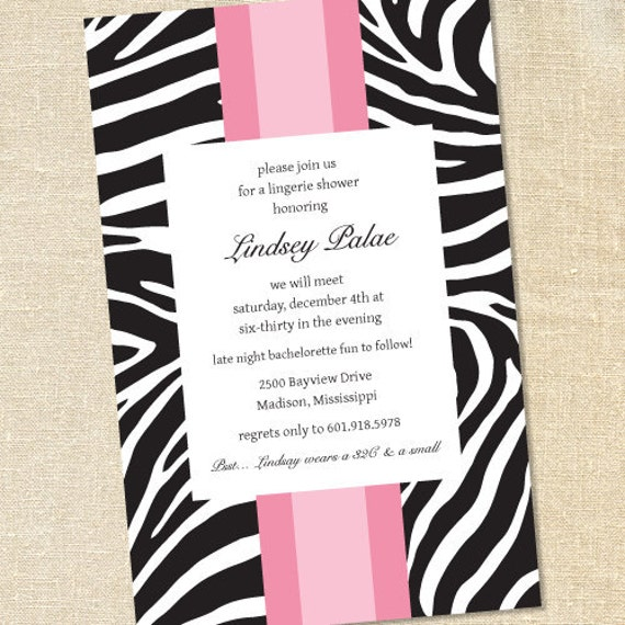 Sweet Wishes Black and White and Pink All Over Party Invitations - PRINTED - Digital File Also Available