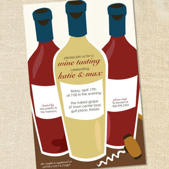 Sweet Wishes Rustic Wine Tasting Invitations - PRINTED - Digital File Also Available