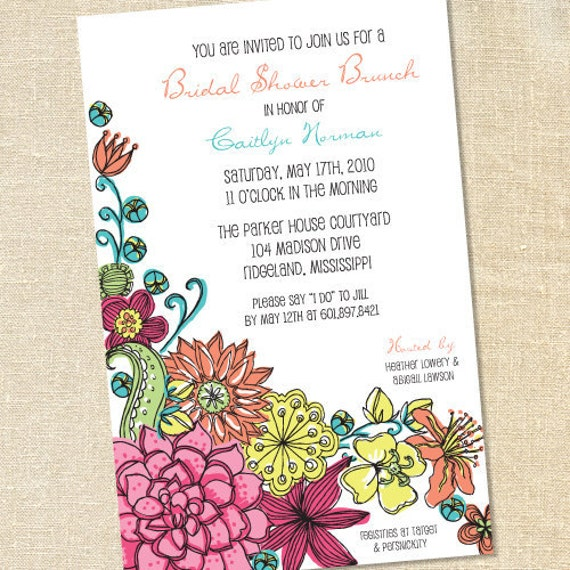 Sweet Wishes 25 Modern Floral Invitations for Baby Wedding Bridal Showers - Custom for Britta