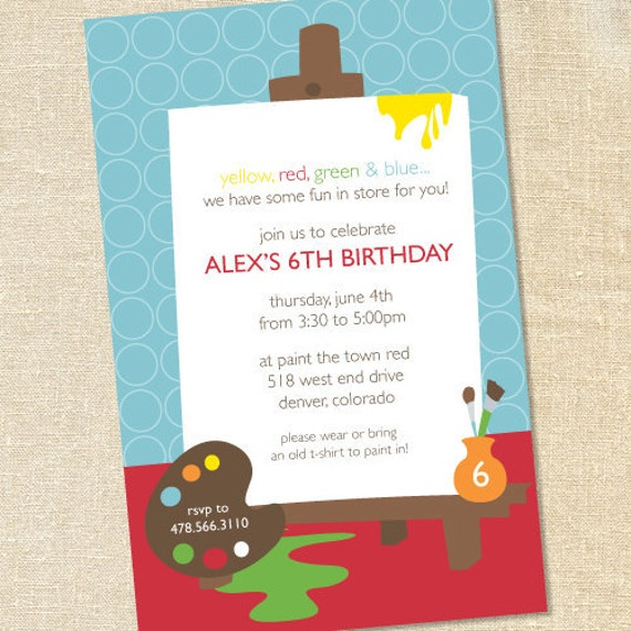 Sweet Wishes Primary Painting Art Easel Party Invitations - PRINTED - Digital File Also Available