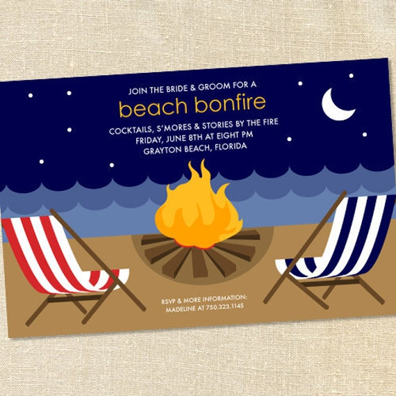 Sweet Wishes Bonfire on the Beach Party Invitations - PRINTED - Digital File Also Available
