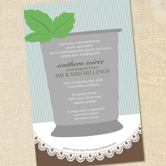 Sweet Wishes Southern Mint Julep Derby Party Invitations PRINTED – Derby Party Invitations