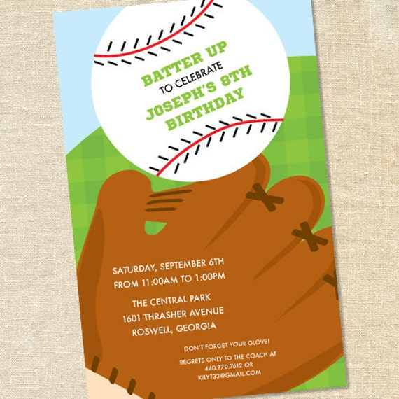 Sweet Wishes Boys Baseball Glove Birthday Party Invitations - PRINTED - Digital File Also Available