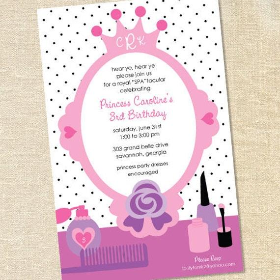 Sweet Wishes Pink Princess Spa Polish Party Invitations – Little Girl Spa Party Invitations