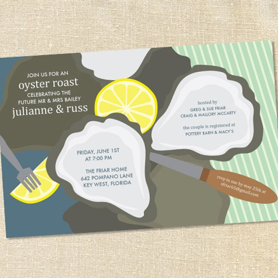 Sweet Wishes Oyster Roast Beach Party Invitations PRINTED