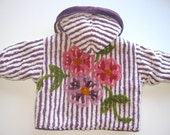 Last Jacket Available - Plum Striped Chenille Jacket with Floral Design on the Back