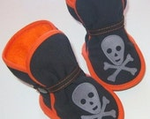 Orange, Black, Grey Pirate Booties - Baby boy, baby girl, halloween costume pirate, soft sole shoes, boots, etsy kids fashion