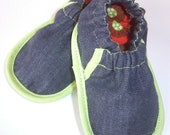 Black Denim Slip-on Shoes - booties, slippers, soft sole shoes, Etsy kids fashion