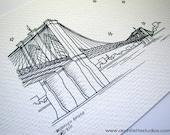 Sketch Series - Brooklyn Bridge, New York City - Art Print (5 x 7)