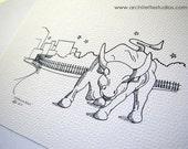 Sketch Series - Wall Street Charging Bull, New York City - Art Print (5 x 7)