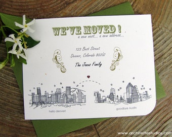 Moving Announcement Cards - (100) City Skyline Cards - A2 sized (4.25 x 5.5)