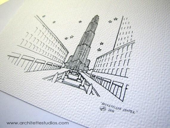 Sketch Series - Rockefeller Center, New York City - Art Print (5 x 7)