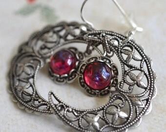 Crescent Moon Silver Earrings - Dragon's Breath Earrings - solid Sterling silver earwires