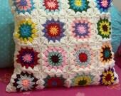 crochet square pillow Hippie Granny Style