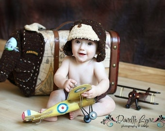 Bomber Baby Aviator Jacket  and Hat Infant Baby Toddler
