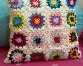 crochet square pillow Hippie Granny Style