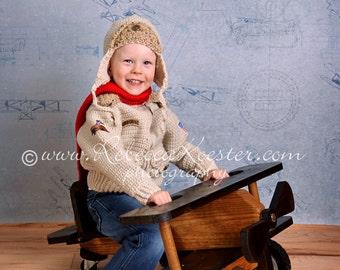 Bomber Jacket w matching Aviator Hat Size Five to Ten Crochet