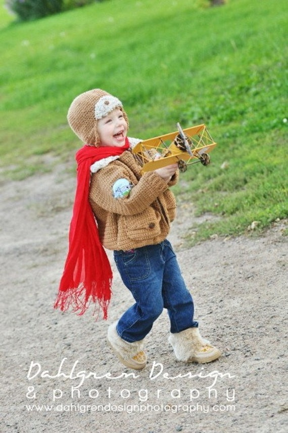 Aviator Bomber Jacket with matching aviator hat  Baby Toddler