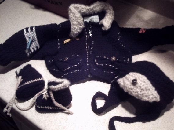 Bomber Aviator Jacket aviator hat and Flight boots Newborn Infant Baby