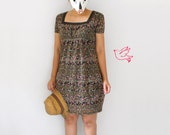 Farmer market day - - Lace square neck line ditsy brown pink flower babydoll mini dress S M