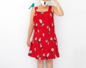 RED issue - - frill pleat sleevelss silk liked girl with flower M L