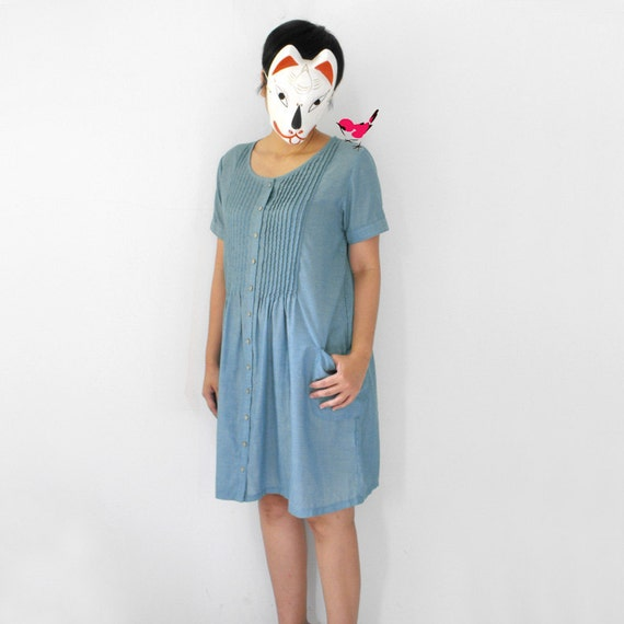 Zakka hunting - - plain blue slouch pocket pintuck front summer picnic tunic dress