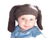 BASSET HOUND II Hand Knit Hat Newborn Boutique Baby Spring Photo Prop