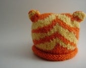 TIGER ROAR Hand Knit Boutique Hat Baby Spring Photo Prop in Orange and Yellow newborn size