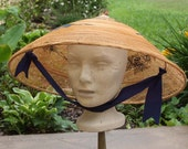 Vintage Straw Asian Coolie Peasant Hat with Embroidery