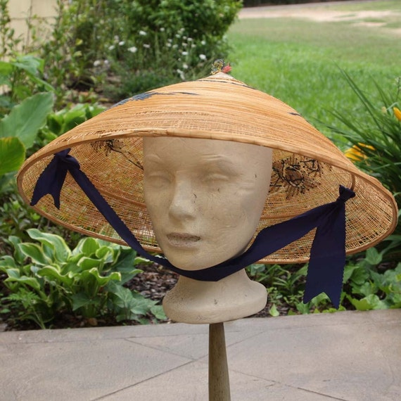 Coolie Hat: Vintage Straw Asian Coolie Peasant Hat With Embroidery