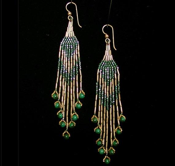 Fine Beaded Gold and Malachite woven Chandelier Earrings