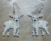 Little Lamb Earrings Hand Made Seed Beaded