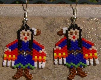 Shawl  Dancer Earrings Hand Made Seed Beaded Native Inspired