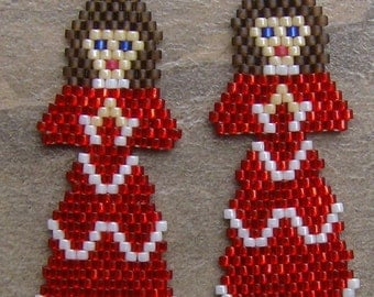 Red Angel Hand Made Seed Beaded