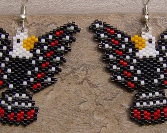Tribal Eagle Earrings Hand Made Seed Beaded Native Inspired