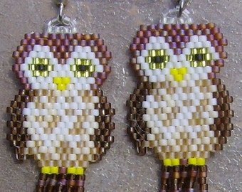 Owl Earrings Hand Made Seed Beaded