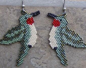 Hummer Earrings Hand Made Seed Beaded