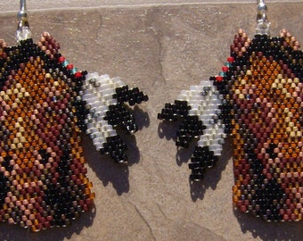 Horse Feather Earrings Hand Made Seed Beaded