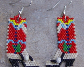 Cowboy Boot Earrings Hand Made Seed Beaded